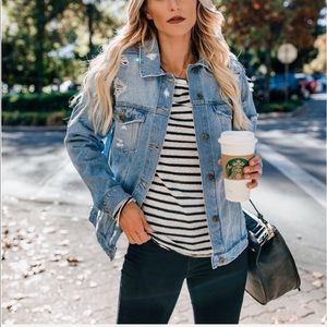 Jean jacket women coat button down distressBoutique for sale